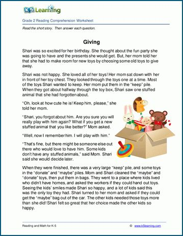 Giving Grade 2 Children S Story K5 Learning Free Reading Comprehension Worksheets Reading Comprehension 2nd Grade Reading Comprehension