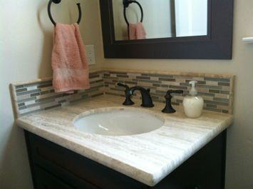 Travertine Bathroom Vanity Countertop, In Travertino Silver. Pencil Edge  Profile, Undermount Sink, Linear Stone And Glass Mosaic Tile Backsplash.