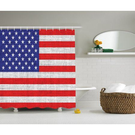 Rustic Decor American Usa Flag Shower Curtain Set Fourth Of July