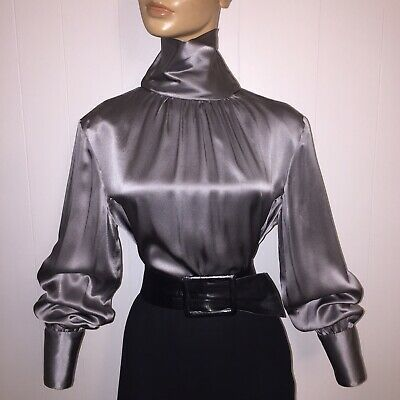 12 L Silver Gray Silk Liquid Satin Vintage High Neck Blouse 42 Bust Austin Reed Ebay Liquid Satin High Neck Blouse Austin Reed