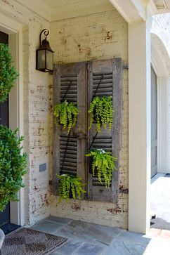 Love These Old Shutters As Plant Holders On The Porch Backyard Fences Patio Decor Little Garden