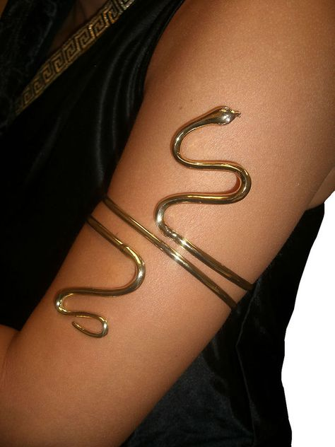 Gold Metal Asp Snake ARM BAND Cleopatra egyptian greek goddess queen