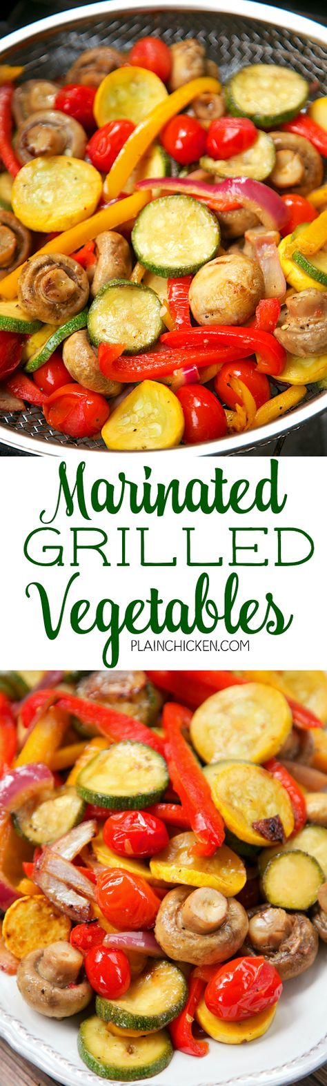 Marinated Grilled Vegetables - zucchini, squash, mushrooms, tomatoes, red bell pepper, yellow bell pepper and red onion marinated in olive oil, soy sauce, lemon juice and garlic. Marinate veggies for 30 minutes and grill. Ready in about 15 minutes! SO easy and SO delicious! Everyone loves these vegetables! Use leftovers in a quiche.