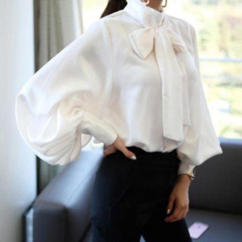 Lantern Sleeve Casual Chiffon Blouse  G....wane fashion house #blouse #chiffon #blouse