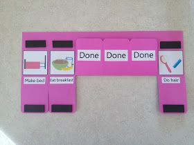 The Almost Perfectionist: Morning Routine Charts.  Did it in an afternoon; woulda finished faster but Mommy duty calls and I had to keep stopping. I had to use superglue to get the magnets to stick.