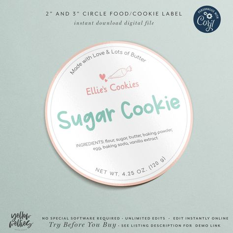 Corjl Editable Cookie Bakery Food Label Sticker Template 3 5 Etsy Sticker Labels Sticker Template Label Templates