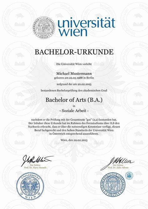 bachelorurkunde bachelor zeugnis muster