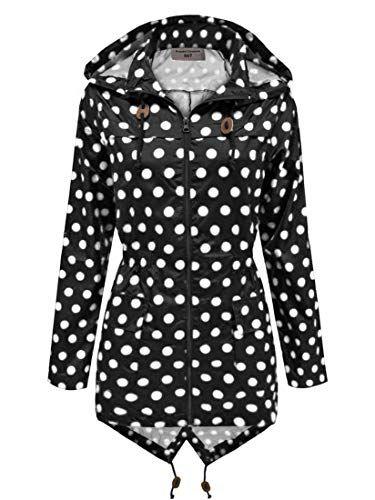 attraktive Mode Schuhwerk neue hohe Qualität SS7 Damen schwarz & weiß gepunktet Regenmantel festival ...