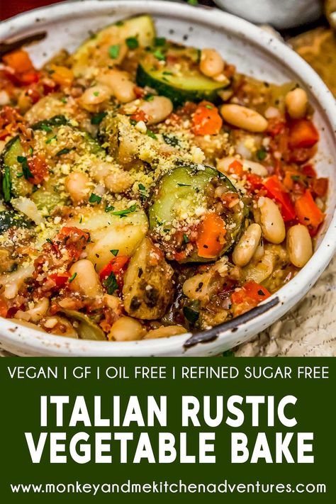 Recipes Vegetarian This tasty and comforting Rustic Italian Vegetable Bake is easy to make, ultra-satisfying, and brimming with feel good ingredients and flavors. Veggie Recipes, Beef Recipes, Whole Food Recipes, Cooking Recipes, Healthy Recipes, Dinner Recipes, Pasta Recipes, Chicken Recipes, Veggie Meals