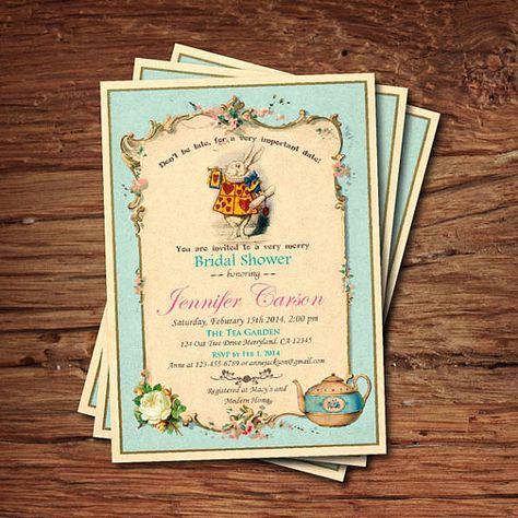 Bridal Shower Invitation Mad Hatter Tea Party Invitation