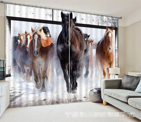 Snow Field Horses 1034 Curtains D