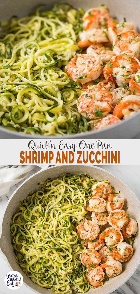 One Pan Lemon Garlic Shrimp And Zucchini Noodles Make this one-pan shrimp and zucchini noodles (aka zoodles) flavored with lemon and garlic for a healthy, quick and easy weeknight dinner or lunch. You only need min to prepare this low carb zucchini pasta. Zucchini Ravioli, Zucchini Noodle Recipes, Zoodle Recipes, Beef Recipes, Healthy Recipes, Zucchini Dinner Recipes, Shrimp With Zucchini Noodles, Making Zucchini Noodles, Zuchinni Noodles