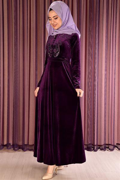 Modamerve On Dugmeli Kadife Elbise Mor Mrg 21050 Kusakli Elbise Giyim Moda Stilleri