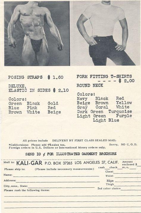 KALI-GAR Orig 1950s Gay Fashion Order Form POSING STRAPS Form - money order form
