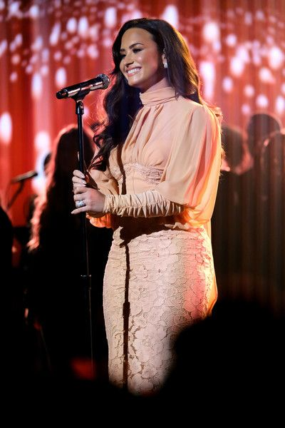 Singer Demi Lovato performs onstage during 'One Voice: Somos Live! A Concert For Disaster Relief.'