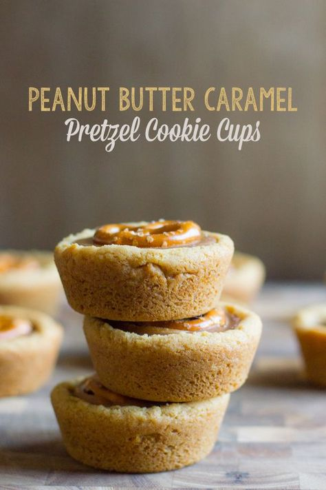The cookie cup version of the Take Five candy bars! You've GOTTA make these! #peanutbuttercaramelpretzel #cookiecups #peanutbutter #caramel #pretzel #cookie #takefivecandybar #dessert