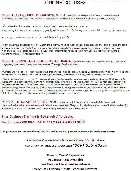 Online Medical Career Training - Job Placement Assistance Provided - work resumes