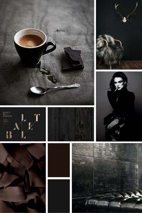 Midweek Moodboard: 'Black Coffee' (deep, rich chocolate brown and grey colour palette for your design inspiration)