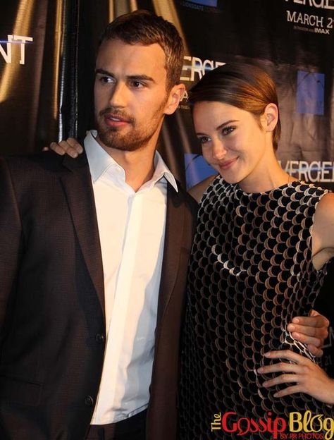 Shailene Woodley and Theo James are all smiles while attending the premiere of 'Divergent' in Chicago at ShowPlace Icon Theater