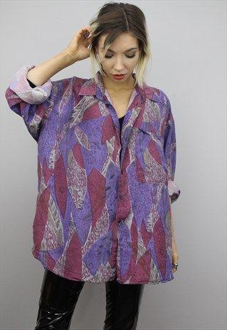 Vintage 80s 90s Oversized Patterned Silk Shirt Silk Shirt Womens Shirts Shirts
