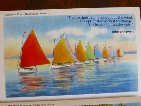 Rainbow Fleet on Nantucket postcard with John Maxwell quote