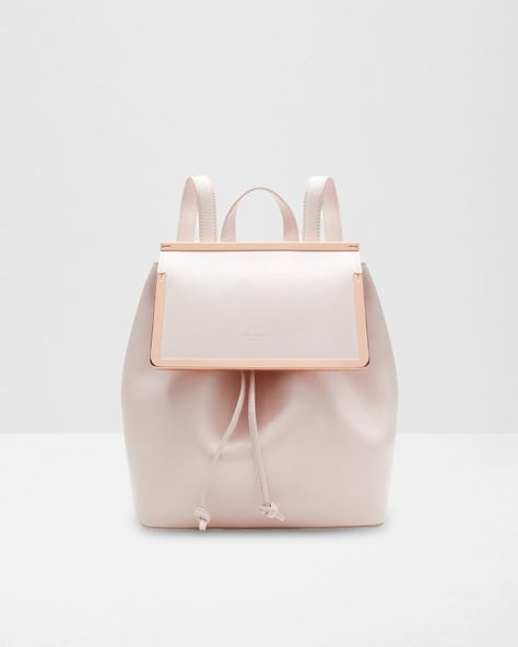 Metal bar leather backpack - Baby Pink | Bags | Ted Baker