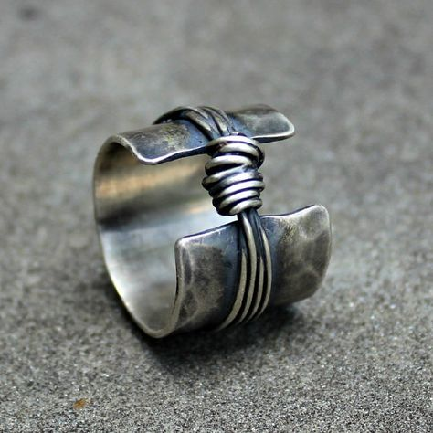Sterling Silver Ring  Sterling Band Ring  Textured by lsueszabo