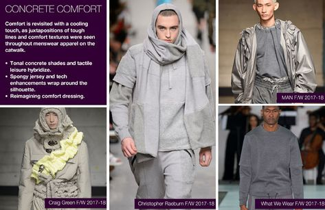 Runway F/W 2018 trends on Menswear Directions: Concrete Comfort details