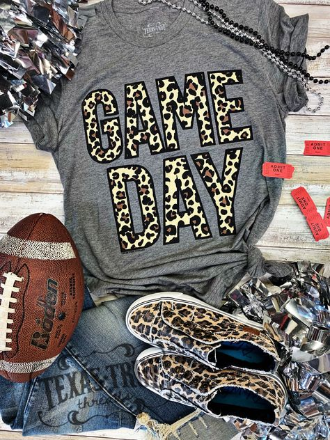 Texas True Threads Leopard Game Day t-shirt – Basic Game Day Shirts Cheer Shirts, Football Mom Shirts, Vinyl Shirts, Sports Shirts, Basketball Shirts For Moms, Football Tshirt Designs, Basketball Girlfriend, School Spirit Shirts, School Spirit Wear