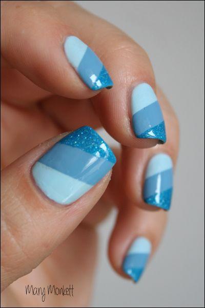 ocean - blue nail design