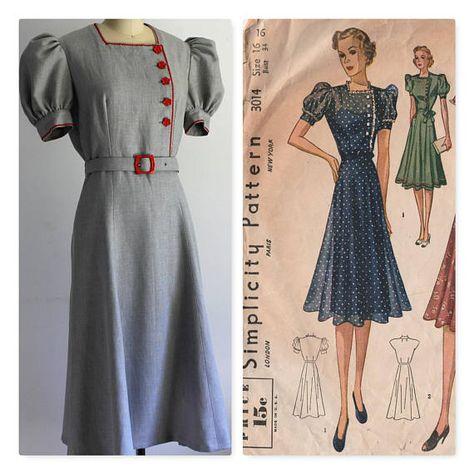 Nouveau bleu rouge deco Wartime années 1930 années 40 Rétro VINTAGE STYLE Swing Tea Dress