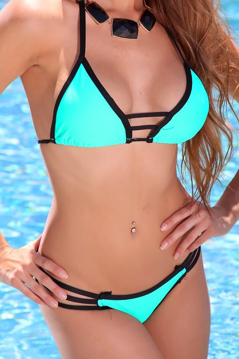 Mint Black Strappy Detail Sexy Two Piece Swimsuit