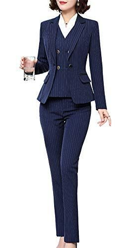 Women S Three Pieces Stripe Blazer Suit Slim Office Lady Business