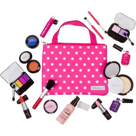 Pixiecrush Pretend Play Makeup Kit Designer Girls Polka Dot Deluxe Bag Set Walmart Com Pretend Makeup Little Girl Toys Play Makeup