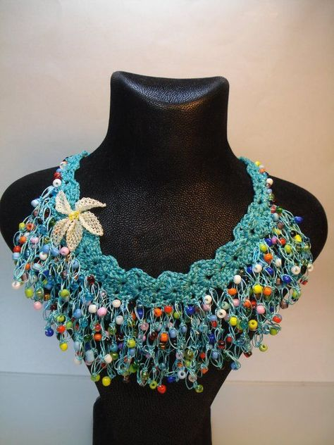 This crochet necklace is totally handmade.The lenght of the inches)This necklace is a wonderful gift to yourself or to your loved one.The necklace is totally handmade,handwoven by me,in a smoke and pet free environment.