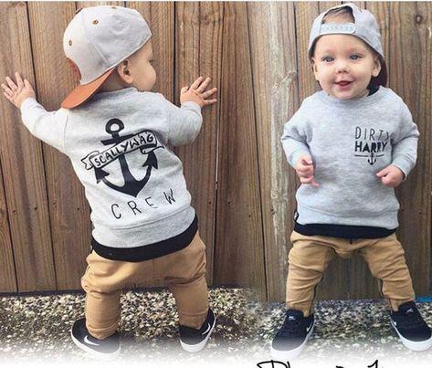 100% Qualität gut aussehend elegantes Aussehen 2 stück Neugeborene Kleinkind Kinder Baby Junge Kleidung T ...
