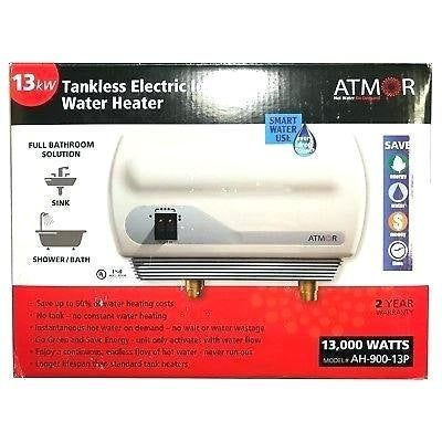 Atmor At 900 03 3kw 110v Electric Tankless Water Heater Instant And Continuous Hot Water On Demand Water Heater Instant Water Heater Water Heater