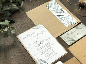 Rustic Greenery Wedding Invitation With Vellum Belly Band Wedding Invitations Greenery Wedding Invitations Timeless Wedding Invitations