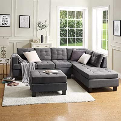 Amazon Com Mooseng 3 Piece Sectional Furniture Set With Chaise Lounge In 2020 Sectional Sofas Living Room Sectional Sofa With Chaise Living Room Furniture Sectionals