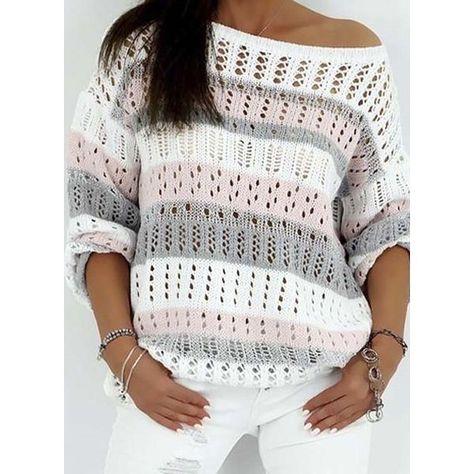 Oblique Neckline Color Block Asymmetrical Hollow Out Shift, Sweaters (1675434130)