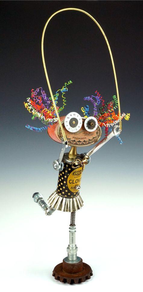 Good Skip Lollipop Series by Amy Flynn (Mixed-Media Sculpture) Found Object Jewelry, Found Object Art, Found Art, Heavy Metal Art, Scrap Metal Art, Recycled Art, Recycled Robot, Repurposed, Mixed Media Sculpture