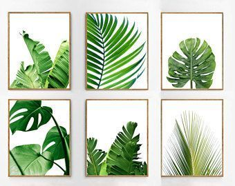 Leaf Prints Set Palm Banana Leaves Tropical Decor Green Wall Art Foliage Plant Botanical Scandinavian Poste Green Wall Art Tropical Wall Art Botanical Wall Art