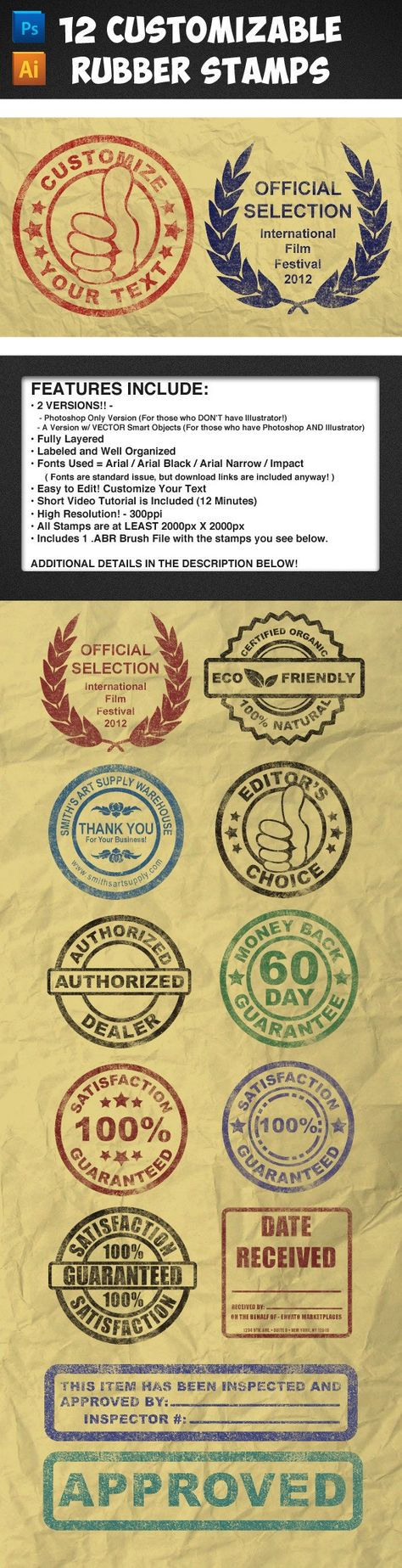 12 Customizable Rubber Stamps - Vol 1