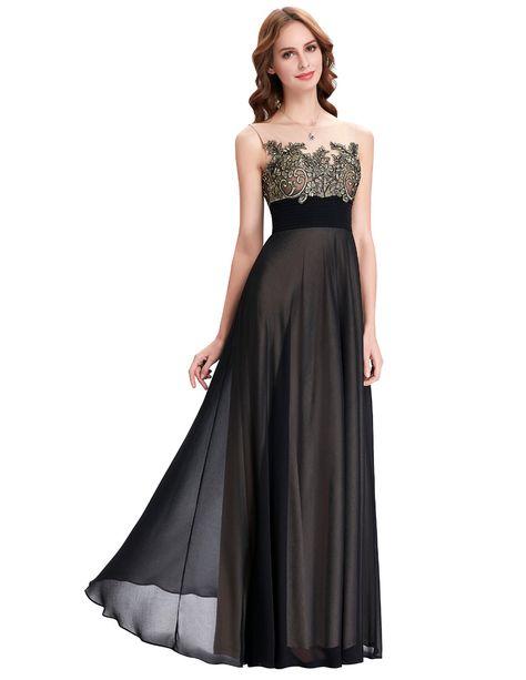 0aa1db8b Lace Appliques Patterns Floor Length Black Bridesmaids Dress - Uniqistic.com
