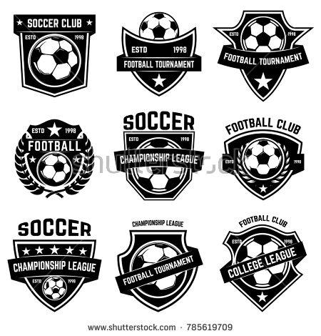 Set Of Soccer Football Emblems Design Element For Logo Label Emblem Sign Vector Illustration Football Logo Design Soccer Logo Church Logo
