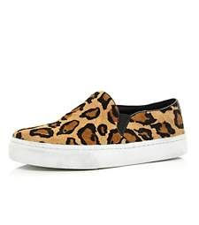 River Island Womens leopard print slip on chunky plimsolls V56EmFY7kj