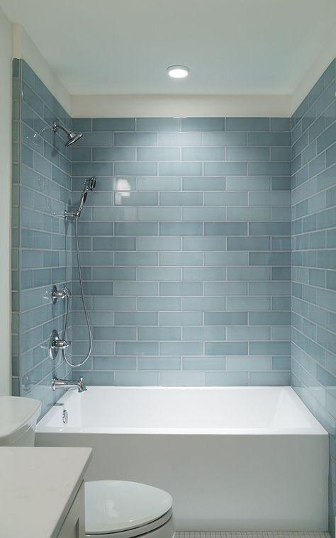 I love this.. deep tub.. gorgeous subway tile. Small Bathroom ...