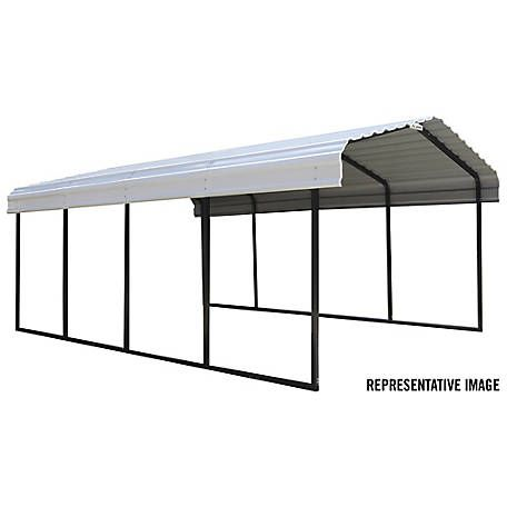 Arrow Steel Carport 12 X 24 Ft Black Eggshell At Tractor Supply Co Steel Roof Panels Steel Carports Metal Carports