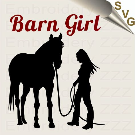 Girl leading her horse svg cut file design.