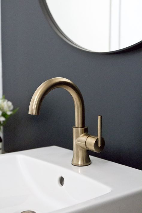 The One Room Challenge Reveal The New Improved Bathroom Delta Trinsic Faucet Brass Bathroom Faucets Brass Fixtures